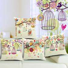 Hand Painting Rustic Floral Tree Owl Bird Cage Love Pillow Case Cushion Cover Decorative Sofa Throw Linen Cotton Cushions Pillows Covers Buy Outdoor