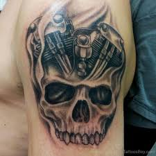 Motorcycle Engine With Skull Tattoo TB1230