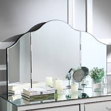 Details About Posh Living Mathew Frameless Modern Contemporary Trifold Tabletop Vanity Mirror