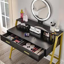 schwarz schminktisch led beleuchtung kosmetiktisch mit 2 schubladen frisiertisch spiegel schublade kommode make up tisch wohnzimmer schreibtish