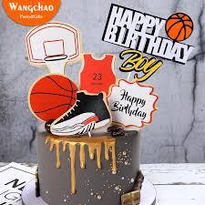 1set basketball fuß sport thema dekoration jungen kuchen dekoration glücklich geburtstag kuchen topper 4 designs verfügbar