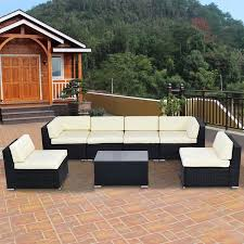 Outdoor Sectional Sofa Walmart by Goplus 7 Pcs Outdoor Patio Sofa Set Sectional Furniture Black Pe