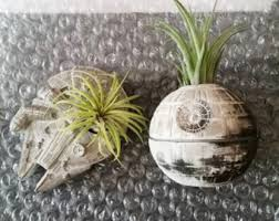Death Star Inspired Planter Gift Set Air Plant Holder Desk Millennium Falcon