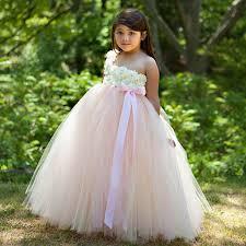 Latest Beige and Pink Tutu Flower Girl Dress Blush Pink Flower Baby