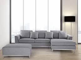canapé d angle pouf canapé d angle g canapé avec pouf en tissu gris clair sofa
