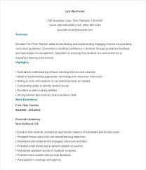 Teacher Resume Templates Free Sample Example Format Download In First Year Template Resumes