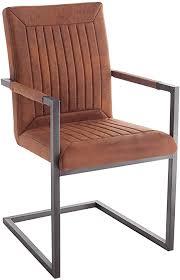 riess ambiente design freischwinger stuhl bristol vintage light brown mit armlehne esszimmerstuhl esszimmer stuhl
