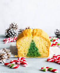 A Front View Of The Surprise Inside Christmas Tree Cake With Few Slices Having