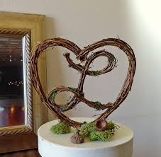 Wedding Cake Topper 6 Rustic Heart With Letter
