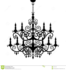 Baroque Chandelier Silhouette Decorative Isolated On White Full Scalable Graphic Included