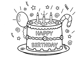 Download Coloring Pages Cake Free Printable Birthday For Kids Drawing