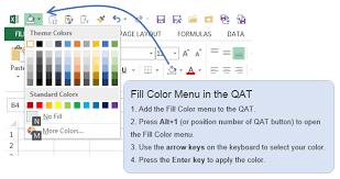 Excel Fill Color Keyboard Shortcut Quick Access Toolbar QAT