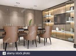 3d rendering speisen in modernem luxus braun esszimmer