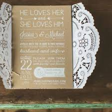 Lacy Brown White Invitations
