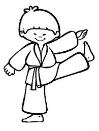 Cute Karate Kid Colouring Page Coloring