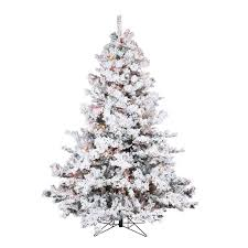 Flocked Alaskan 65 White Green Spruce Trees Artificial Christmas Tree With 600 Incandescent Multi