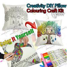 Coloring Pillowcase Creativity DIY Pillow Colouring Craft Kit Fabric Cushion