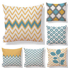 Set Of 6 Wave Geometric Waterproof Cotton Linen Square Decorative Throw Pillow Cases Sofa Cushion Covers New Arrival1818inch Best Outdoor Cushions Lounge