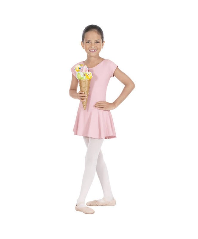 Eurotard Girls Bow Back Leotard with Skirt, Size: Small, Pink