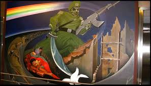 Denver Airport Murals Conspiracy Theory by Creepy Mural At Denver Airport Album On Imgur