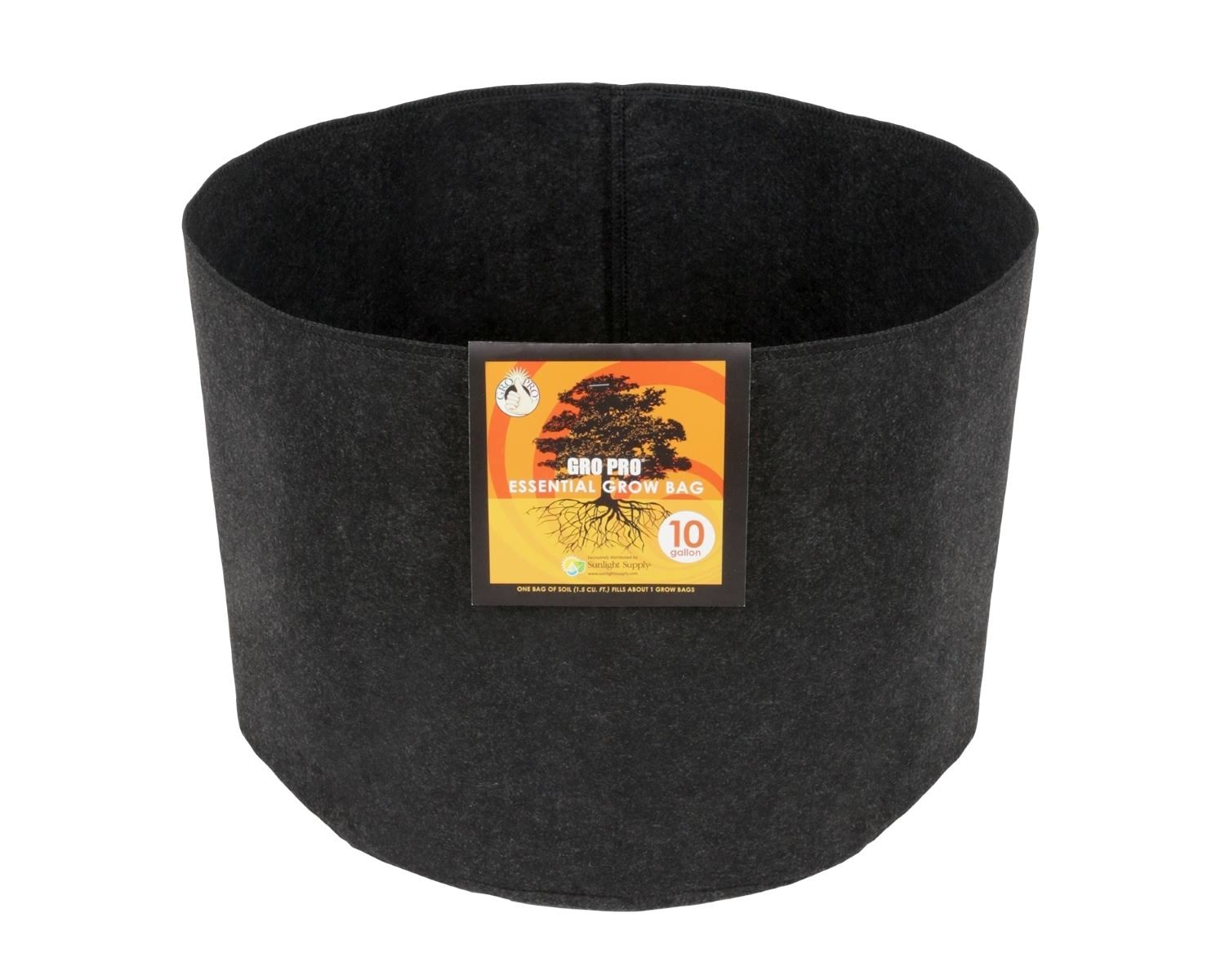 Gro Pro Essential Round Fabric Pot 10 Gallon - Black