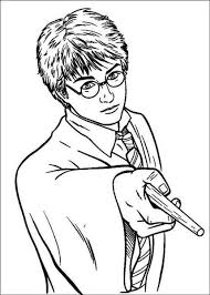 Harry Potter Using Magic Power Coloring Pages