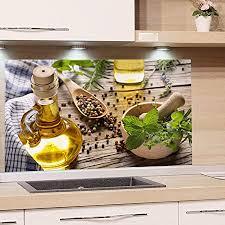 grazdesign spritzschutz glas für küche herd bild motiv grün kräuter gewürze provinz mediterran küchenrückwand glas küchenspiegel glasrückwand