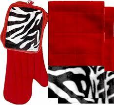 AnythingAnimals Animals Bordering Africa Animal Print Kitchen Linen Set Red Zebra 35