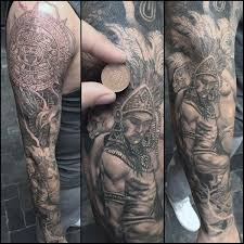 Full Sleeve Mayan Themed Male Tattoo