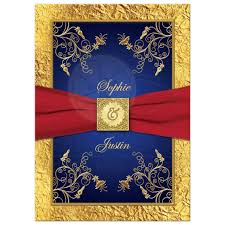 Red Royal Blue And Gold Military Wedding Invitation With Flowers Ribbon
