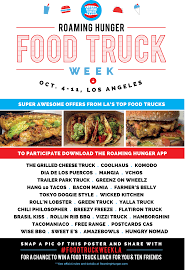 Food Truck Week LA Is Coming | Roaming Hunger Vizzi Truck Los Angeles Food Trucks Roaming Hunger Reviews Of Las Most Popular Food Trucks Vini Vidi Times Giga Granada Hills Ftw Farm Rich Mobile Lunch Tour Food Pinterest Truck Humana Challenge Frenzy Little Red Riding Schnitzel Cream Mushroom Over Fries For With Visionary Cuisine At Bootleggers Girl Meets Soup Wheels On Fire Inspired Hits Universal For Wednesday 11415 Best In America 2012 Fox News