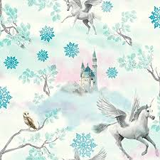 Fairytale Unicorn Wallpaper Horse Textured Glitter Effect White Ice Blue