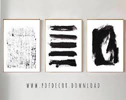 Set Of 3 Black Abstract Prints Wall Art White Minimalist Print