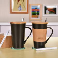 2016 New Fashion Limited Edition Black Ceramic Water Mug 500ML Drinking Coffee Cup With Cover