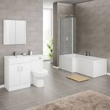 turin high gloss white vanity unit bathroom suite with square
