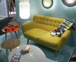 sentou canapé canapé droit coogee 2 places l 132 cm jaune citron boutons