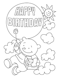 Happy Birthday Coloring Pages Free Printable Download For Kids Animals Balloon Cake Bird Elmo Disney Activity Sheets Boy Girl Crafts 4