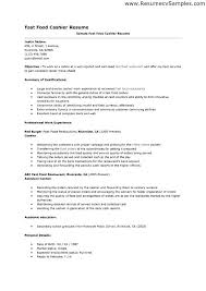 Resume For A Cashier Sample Example Fast Food Near Me