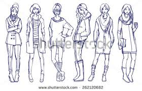 Stylish Girls Fashion Illustration Six Different Street Style Looks Spring And Fall Season Casual