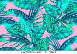 Tropical Palm Leaves Jungle Leaf Seamless Vector Trendy Floral Pattern On Pink Background Summer