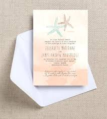 Rustic Beach Wedding Invitations Tropical Starfish Peach Coral Blush Pink Watercolor Watercolour Destination