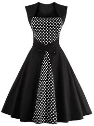 polka dot semi formal midi skater dress black xl in vintage