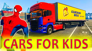RED TRUCKS And MOTORBIKE For Kids With SPIDERMAN! FUNNY CARS Cartoon ...