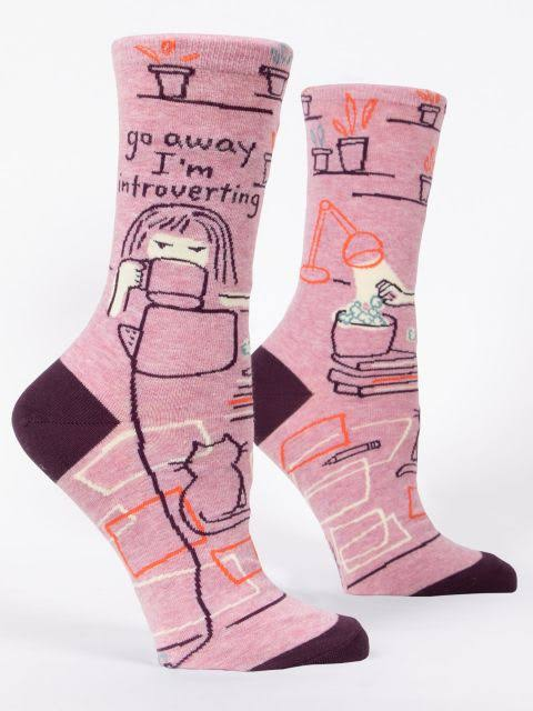 Blue Q - Go Away I'm Introverting Crew Socks | Women's