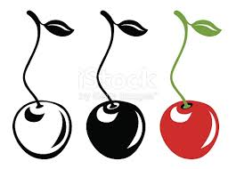 Cherry With Long Stem In Color And Black And White stock vector art