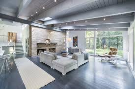 Living Room Mid Century Modern Furniture Medium Limestone Wall Mirrors Floor Lamps Purple