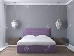 moderner schlafzimmerinnenraum mit grauen wänden und violett kingsize bett 3d darstellung