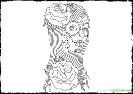 A Beautiful Girl Celebrating Day Of The Dead Coloring Page