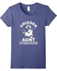 Womens Unicorn Aunt Magical Full Of Rainbows Glitter Dust T Shirt Medium Heather Blue