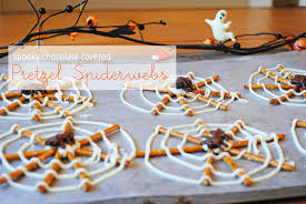 Halloween Pretzel Sticks by Spooky Chocolate Covered Pretzel Spiderwebs Lemons And Letterpress